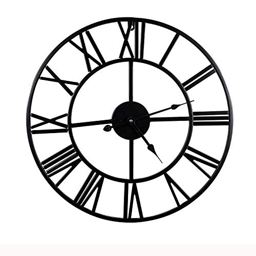 Mengshen Riesige Römische Ziffer Wanduhr - 15,7 Zoll, Schwarz
