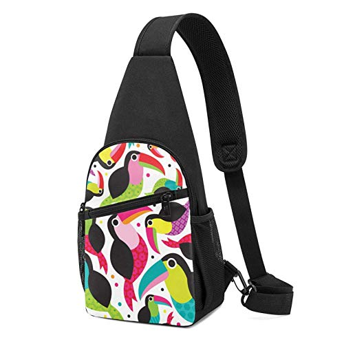 DJNGN Tactical Tucan Birds Colorful Sling Bag Pack, Hombro Sling Mochila Bolsas de pecho, Mochila de pecho, Mochila de día, Bolsa de pañales para hombres, mujeres, para deportes al aire libre, senderi