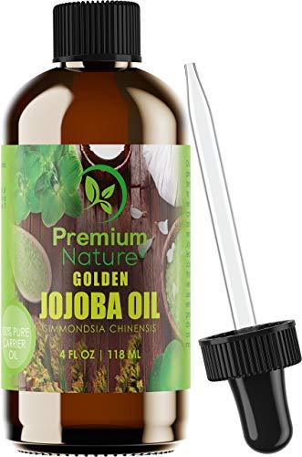 Premium Nature Jojoba Golden Huile Pure Bio - 4 Oz Huile Pressée À Froid Non Raffiné Naturel Pour Visage Cheveux Ongles Remove Maquillage Ralentir Des Signes Du Vieillissement - Nature 4 Ounces