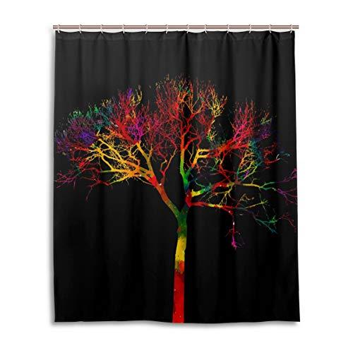 JSTEL Decor Rideau de Douche 100% Polyester Motif à Couleurs et Aquarelle 152 x 183 cm