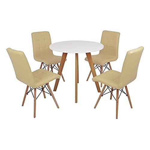 Mesa Laura 80cm Branca + 4 Cadeiras Eiffel Gomos - Nude
