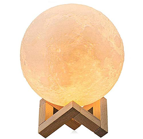 3D Full Moon Lamp 5.9 Inch,Mayround LED Lunar Moon Night Light Modern Lamp [Remote Control][USB Charging][Free Wooden Stand][16 Colors] Home Decor Christmas Gift for Kid,Children,Friends (15cm)