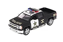 "1/46 scale diecast collectible model car This Chevy Silverado is 5""L x 2""W x 1.75""H Pullback motor action and openable doors & tailgate Black & White"
