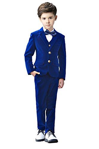 Boys Suits Size 4T, Toddler Boy Royal Blue Velvet Tuxedo Suit for Kids with Blazer Vest Pants Dress Shirt and Bow Tie