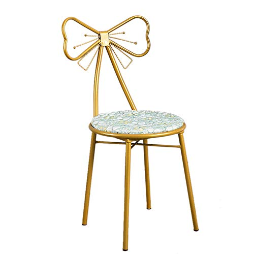 Stuhl, europäischer Stil, mit Schmetterlingsflügeln und abnehmbarem Sitz, für Schlafzimmer, Wohnzimmer, Garderobe (Farbe: grün)