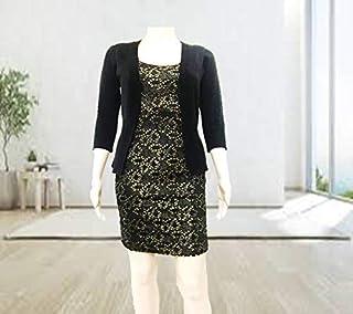 Emoltem - TEH 0001EVS Women's U Neck Sleeveless Glitter Stretchy Mini Bodycon Evening Dress