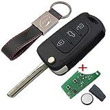 Chiave Telecomando con Scheda Elettronica 3 Tasti per Hyundai iX20 iX35 Tucson Kia Sportage Rio (433Mhz ID46 Chip) Transponder con Portachiavi KASER