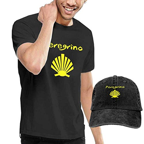 Quitelike Custom Camino De Santiago Short Sleeve T Shirt Black tee Camisetas de Hombre con Gorra de béisbol For Men