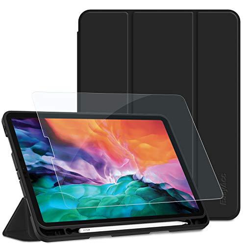 EasyAcc Panzerglas + Hülle Kompatibel mit iPad Pro 12.9 2020 mit Stifthalter, Ultra Dünn Smart Cover Schutzhülle, Auto Schlaf/Aufwach, Unterstützt Kabelloses Laden für Apple Pencil 2, Schwarz