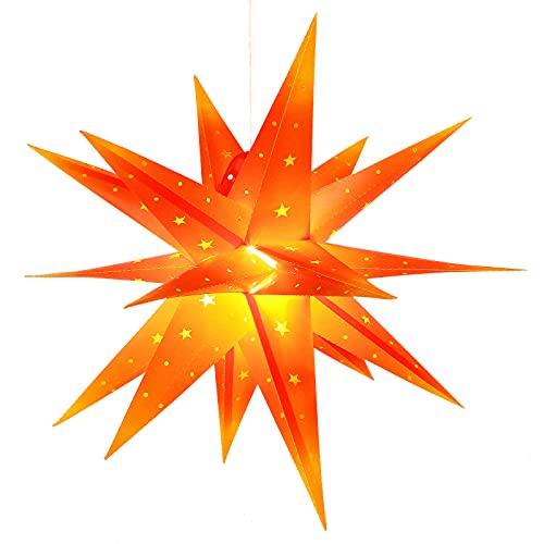 3D Weihnachtsstern Beleuchtet Außen Batterie mit Timer - 58cm led Weihnachtsstern für Fenster, Adventsstern Stern Zum Dekorieren von Innenhof, Balkon Und Garten - Qijieda(Red-Yellow)