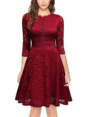 MISSMAY Women's Vintage Full Lace Half Sleeve Big Swing A-Line Dress, Small, Red