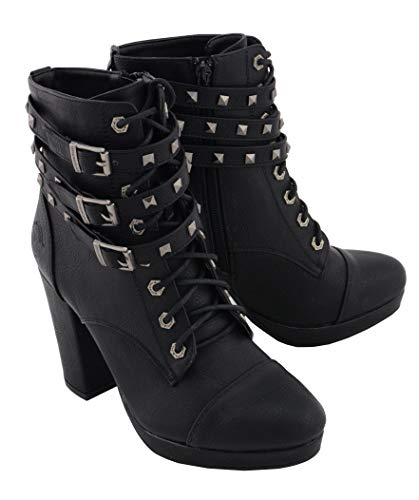 Milwaukee Performance MBL9417 Womens Black Lace-Up Boots with Triple Strap Studded Accents - 8