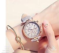 腕時計 レディース 女性用 ウォッチ アクセサリー かわいい おしゃれ ゴールド ブレスレット付 円形 カレンダー 本革ベルト 防水30M (グレー)