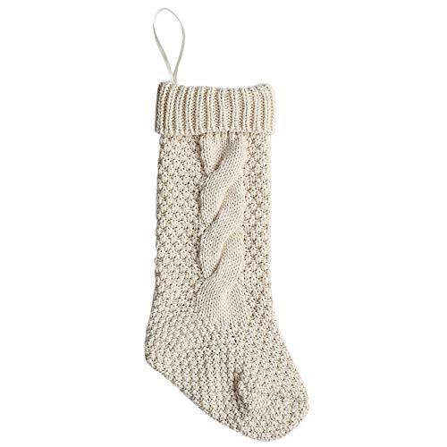 XShuai® Lot de 2 Chaussettes de Noël en Tricot à Suspendre 37 cm, Matériau : Fibre Acrylique, Blanc, Hight: About 37 cm