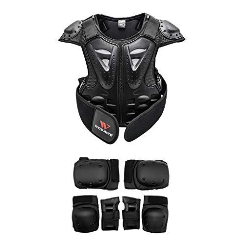 Milageto Chaleco de soporte para chaleco para niños Dirt Bike Back Chest Protector y 6 almohadillas