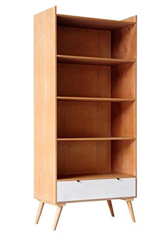 Meuble bibliothèque étagère Design Moderne à 4 Compartiments et 2 tiroirs en Bois