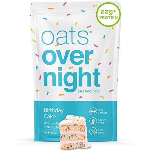 Oats Overnight - Birthday Cake (24 Pack) High Protein, Low Sugar Breakfast - Gluten Free, High Fiber, Non GMO Oatmeal (2.7oz per pack)