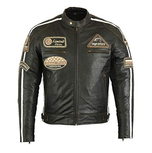 Retro Racing Motorrad-Lederjacke - Motorradjacke L, Braun
