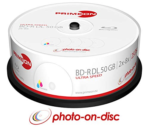 Primeon BD-R DL 50GB/2-8x Cakebox (25 Disc) Photo-on-disc, Inkjet Full Size Printable Surface