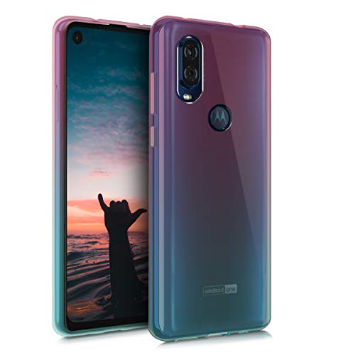 kwmobile TPU Silicone Case Compatible with Motorola One Vision - Crystal Clear Smartphone Back Case Cover - Bicolor Dark Pink/Blue/Transparent