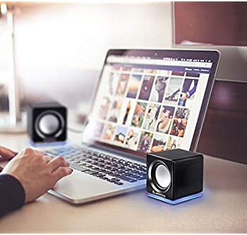 ARVICKA Computer Speaker, LED Accents USB Speaker Small Mighty Solid Wired Multimedia Speaker for PC Monitor Desktop ...