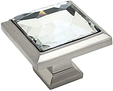 """10 Pack - Cosmas 5883SN-C Satin Nickel Cabinet Hardware Square Knob with Clear Glass - 1-1/4"""" Square"""