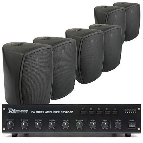 Power Dynamics 100V set met 6 zwarte opbouw speakers en versterker