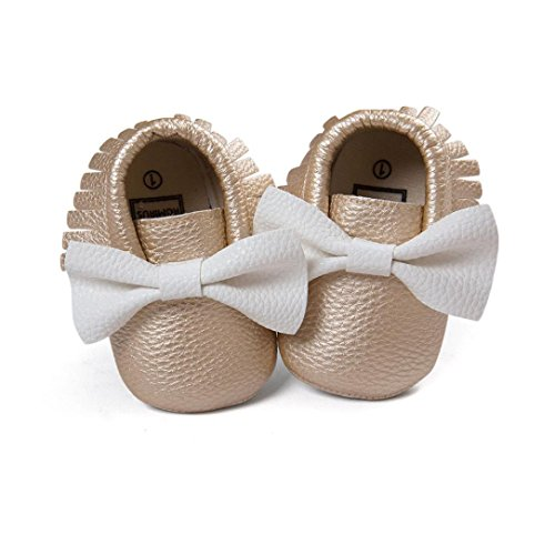Voberry Newborn Baby Soft Soled Crib Shoes Non-slip Bowknot Sneakers Gilrs PU Moccasins (12~18 Month, Gold)