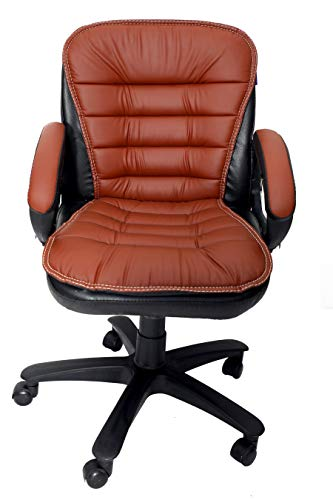 MAJESTIC™ Extra Cushion Comfort Chair Series Home Office Revolving Chair with Chrome Finish Armrests and Nylon Base (Black and Tan)