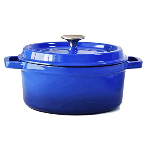 Casserole with Lid Casserole de Hierro Fundido Engrosada manija de la Oreja con Tapa de Olla de Esmalte para Hornear el Horno Adecuado para Varios hornos (Color : Blue)