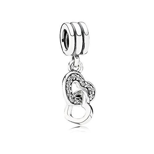 Pandora Damen Moments Verschlungene Herzen Charm-Anhänger Sterling Silber 791242CZ