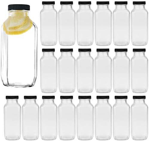 Vintage Water Bottles Glass Drinking Bottles 16oz Square Beverage Bottles 500ml With Lids For product image