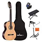 ADM Full Size Classical Nylon Strings Acoustic Guitar 39 Inch Classic Guitarra Starter Bundle for Adult with Free Lessons, Gig Bag, E-tuner, Footstool, Kids Student Beginner Kits, Nature