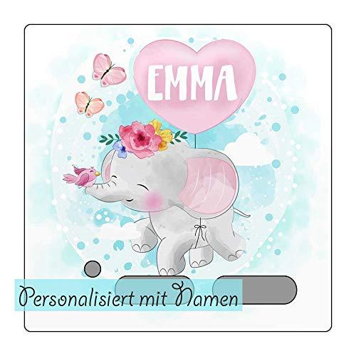 My Sweetheart® Tonie Schutzfolie Toniebox Folie Aufkleber personalisiert mit Namen Elefant Schmetterlinge wischfest kratzfest Schutz LED durchscheinend