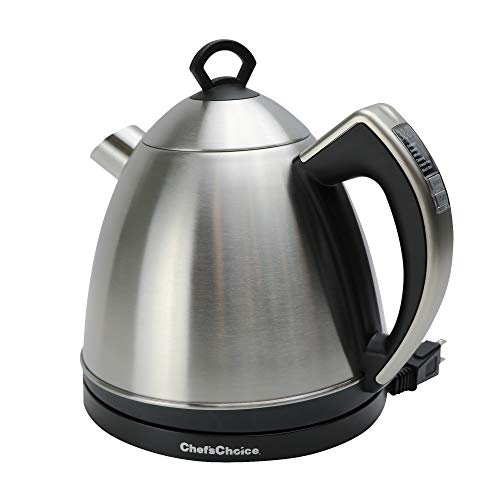 Chef'sChoice 686 Cordless Electric Smart Kettle Variable Temperature 1500 Watts Faster than Microwave No Mineral Build-up with Concealed Heating Element, Polished Stainless Steel, 1.3-Liter, Silver