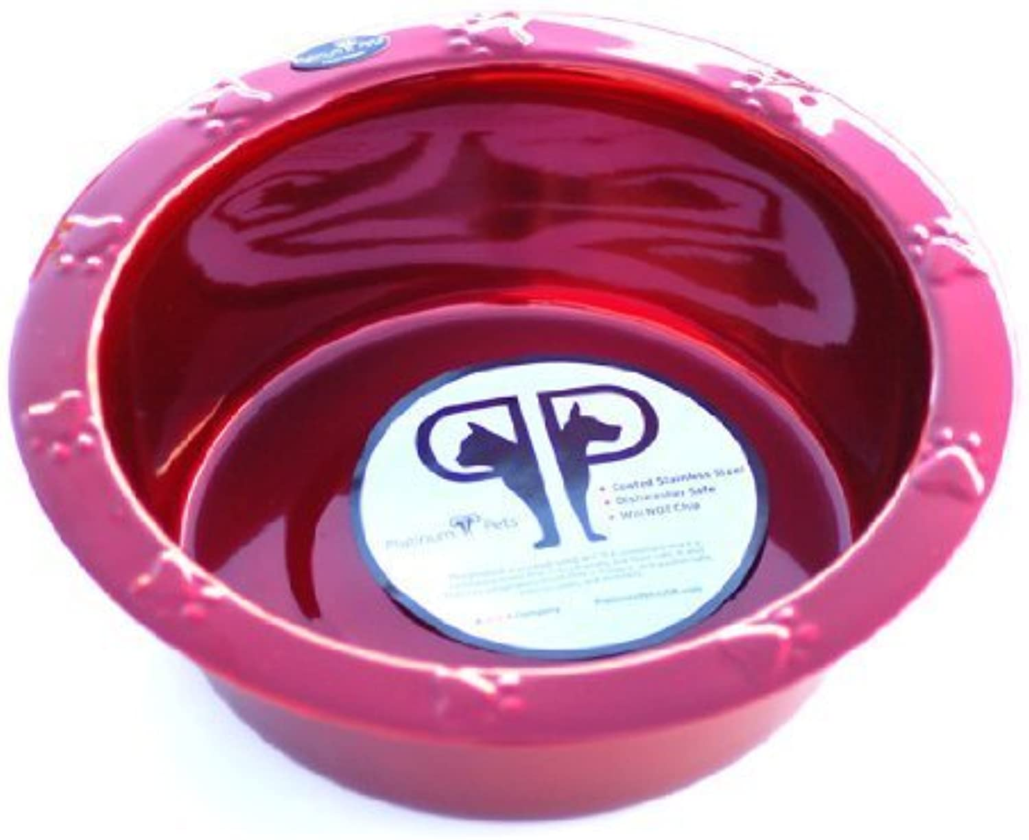 Platinum Pets 8Cup Stainless Steel Wide Rimmed Bowl, Red by Platinum Pets