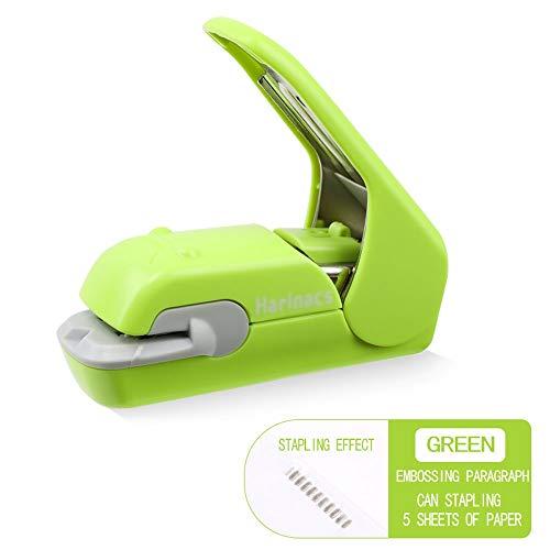 Mini-nietmachine voor op kantoor – geen naald met reliëf – praktisch nieten, lichtgewicht, comfortabele AAA-nietmachine groen