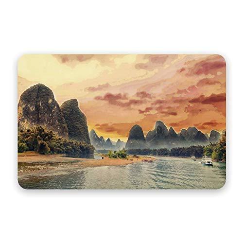 Diatom Mud Mat Sunset, Li River, China de secado rápido y antideslizante, absorbente diatomeas para puerta de baño, 40 x 60 cm