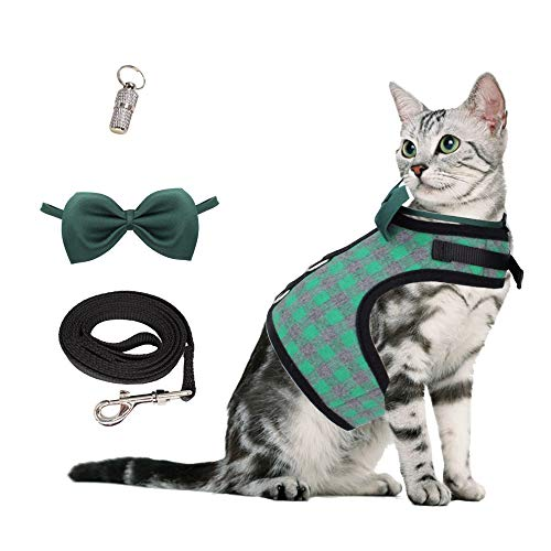 WONDERPUP Escape Proof Plaid Cat Puppy Harness and Leash Collar Set Adjustable Vest for Small Dogs Green L