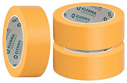 KLEBMA Gold Malerabdeckband Goldband Profi 3 Rollen je 50m Washi (38mm)