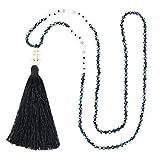 KELITCH Fashion Crystal Strand Halskette Langkettige Y-förmige Halskette mit Kopf Quaste Anhänger Halskette - Pure Black