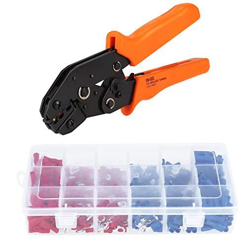 Kit de herramientas de engaste, crimpadora de trinquete con 450 conectores de terminal eléctrico, de acero y plástico
