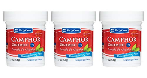 De La Cruz 11% Camphor Ointment, For Muscle and Joint Pain, No Preservatives, Allergy-Tested, Made in USA 2.5 OZ (3 Jars)