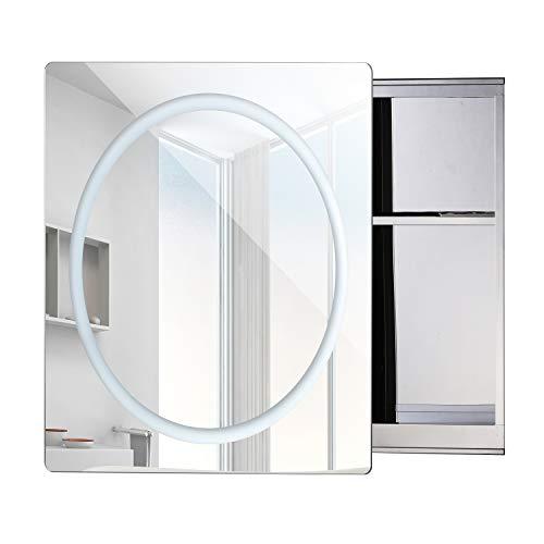 Homcom Miroir Lumineux LED Armoire Murale Design de Salle de Bain 2 en 1 Acier Inoxydable 60L x 13l x 60H cm