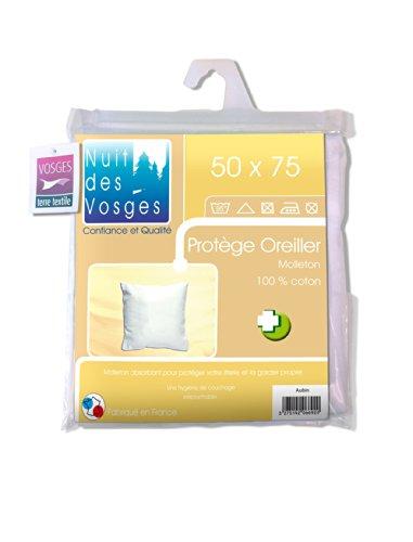 Nuit des Vosges 2066913 Aubin sous-Taie d'oreiller Absorbante Molleton/Coton Blanc 50 x 75 cm