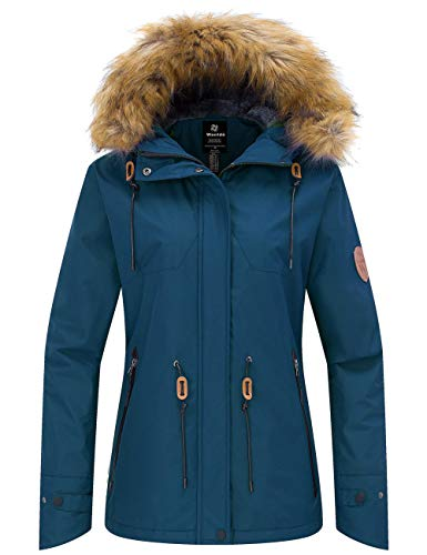 Wantdo Women's Waterproof Ski Jacket Cotton Padded Winter Raincoat Blue Black XL