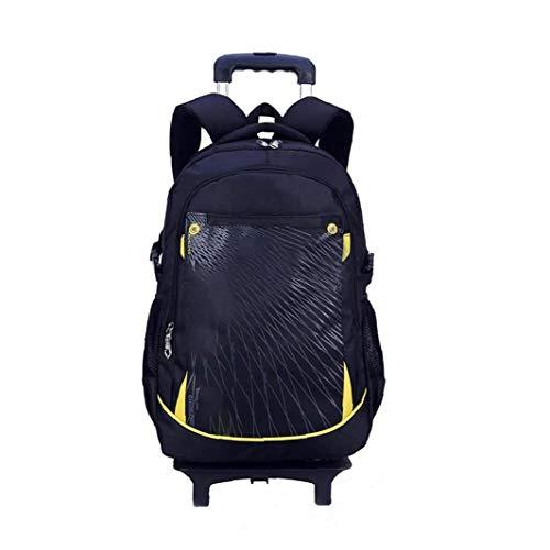 asdfwe Elementary School Rolling Backpack Preschool Trolley Book Bag Wheeled Students Daily Backpack for Girls Boys 3 Wheels (black)