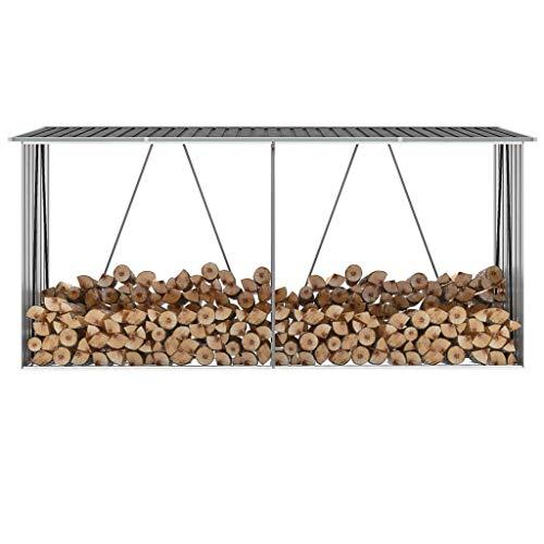 GOTOTOP Casetta in acciaio zincato per legna da ardere, grande per giardino esterno, 330 x 84 x 152 cm, grigio antracite