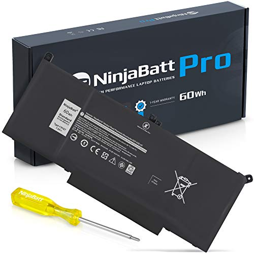 NinjaBatt Laptop Battery F3YGT for Dell Latitude E7480 E7490 E7280 12 7000 7280 7290 13 7000 7380 7390 14 7000 7480 7490 2X39G 451-BBYE KG7VF 453-BBCF 0DM3WC - Higher Performance [7.6V/60Wh]