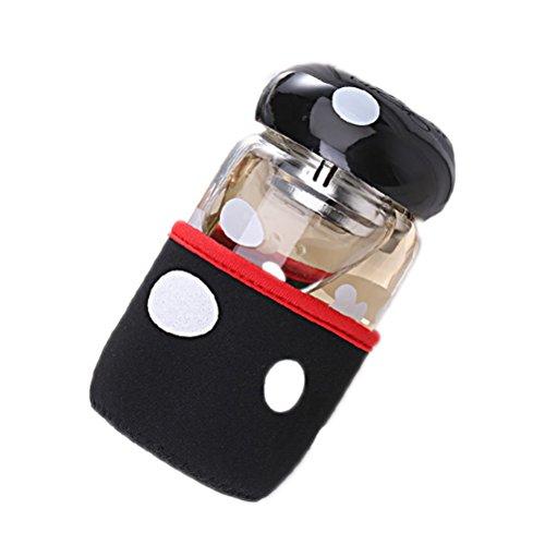 PIXNOR Tee-Flasche/Trinkflasche mit Teesieb und Cup Deckel - Pilz stil (schwarz)